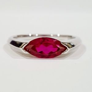 Marquise Cut Ruby & Sterling Silver Ring